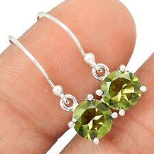 Faceted Moldavite 925 Sterling Silver Earrings Jewelry SE114876
