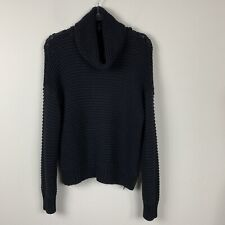 elan chuncky turtleneck cowl neck knit black pullover sweater size M