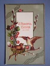 R&L Postcard: Art Study, Easter Embossed Birds in Nest Flower, Posted 1907