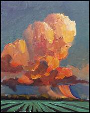 HAWKINS Thick Paint Rose Clouds Farm Impressionism  Original  Oil  Art  Painting