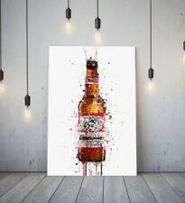 BUDWEISER -DEEP FRAMED CANVAS WALL SPLASH ART PICTURE PAPER PRINT- BROWN RED