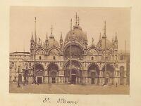 San Marc Façade Venezia Italia Vintage Albumina Ca 1875