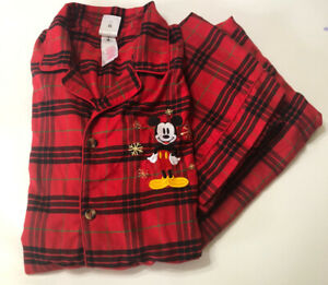 Disney Store Mens L Embroidered Mickey Mouse Red Plaid Soft Flannel Pajama Set