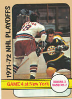 1972-73 Topps #5 1971-72 NHL Playoffs Hockey Card Bruins Rangers