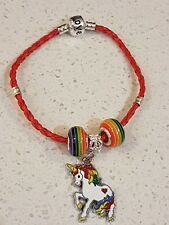 Leather twisted style european bracelet with an enamel unicorn kids or adults