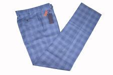 Zanella NWT Dress Pants Size 38 In Blue & Tan Plaid Wool Todd Stretch Waistband