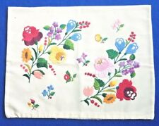 Vintage Hungarian KALOCSA VANILLA Floral Hand EMBROIDERED Cushion Cover GIFT
