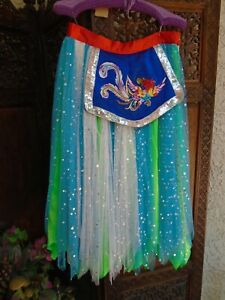 Costume Style Womens Dancing Skirt Netted Sequin Phoenix Bird Panel Front M / L