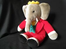 """GUND: BABAR 1998 Red Suited Elephant Plush Toy : 11"""" Seated : Excellent Cond'"""