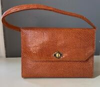 VTG 50'S LEE KEE*NICE!!TAN BROWN FAUX CROCODILE LIZARD LEATHER CLUTCH PURSE BAG