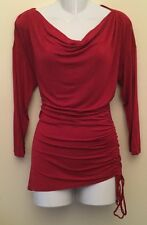 Gorgeous Michael Kors Sexy Red Drop Neck 3/4 Sleeve Shirt Blouse Top L Large