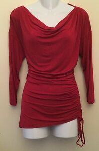EUC Michael Kors Sexy Red Drop Neck 3/4 Sleeve Shirt Blouse Top Size L Large