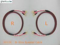 S01Bw (1m 3ft) --- Pair HIFI Bi-Wire Canare Star Quad Speaker Audio Cable Banana