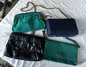 LOT OF 4 PURSES CROSSBODY TEAL BASKET BLUE BLACK VINYL CLUTCHES SUEDE A NEW DAY