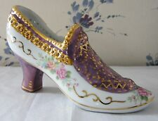 "Decorative Shoe Lavender w/ gold trim & roses 7"" x 4"" x 2.5"" SEE ALL PHOTOS MINT"