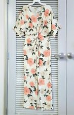 cream floral print front knot and slit long dress M w/ anthropologie earrings