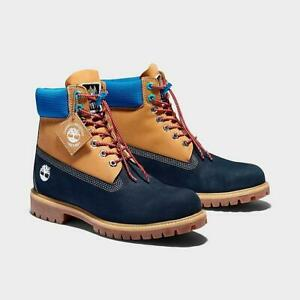 Timberland Men's Premium 6 Inch Waterproof Wheat/Navy Leather Boots A2N9E
