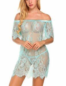Women Sexy-Lingerie Lace Transparent Mesh Nightgown Babydoll Sleepwear G-string