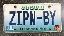 """2004 Missouri Vanity License Plate """"ZIPN-BY"""""""