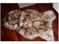 Brown-white real sheepskin rug natural soft carpet