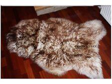 White Brown Sheepskin Rug Natural Soft Carpet X Large
