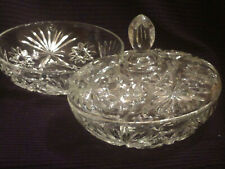 VINTAGE CUT CRYSTAL CLEAR GLASS C OVERED BOWL/DISH/PLUS MATCHING BOWL