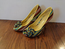 Charlotte Russe Peep-Toe Heels -- Striped Lime Brown Turquoise -- WMS Size 7