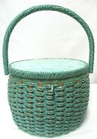 Vintage Japanese 1960s Dritz Wicker Sewing Box Basket Mid-Century w/Handle Bag