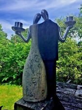 Antique ART NOUVEAU Pottery Pewter SILHOUETTE Man Woman LOVE Taper Candelabra