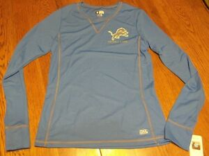 Size M DETROIT LIONS Ladies Blue Long Sleeve NWT NFL TX3 Cool Wicking Shirt