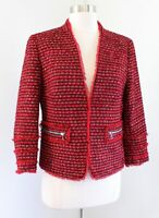 NWT $179 Ann Taylor Womens Red Black Metallic Tweed Fringe Blazer Jacket Size 4