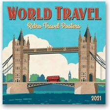 WORLD TRAVEL - RETRO POSTERS - 2021 WALL CALENDAR - BRAND NEW - 30819