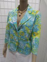 Women's Briggs New York Sz 8 Cotton Blend  Aqua Blue Floral Summer Blazer