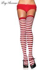 Leg avenue nylon costume thigh high socks stockings White Red striped elf 6005