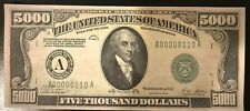 Reproduction United States 1928 $5000 Bill Federal Reserve Note Copy USA Madison