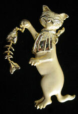 Vintage Signed AJC CAT with Fish Skeleton FIGURAL PIN/Brooch
