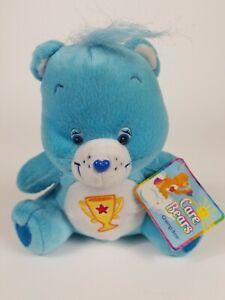 """7"""" Champ Bear Plush ~ Care Bears (2004, Nanco) blue w/ trophy"""