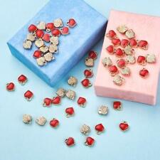 100 Gold Heart Charms Red Enamel Pendants 8mm Findings Valentine's Day Jewelry