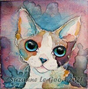 Devon Rex Cat art painting on canvas original hand painted Suzanne Le Good