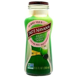 Taste Nirvana Real Coconut Water with Thai Basil Seeds 9.5 oz ( Pack of 12 )