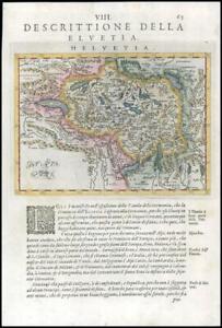 1597/8 Antique Map DESCRITTIONE DELLA HELVETIA Switzerland by Magini (G16)