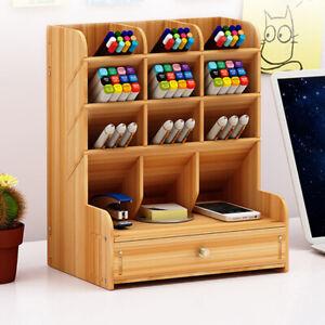 Wooden Desk Organizer Pen Holder Box Desktop Stationary Storage Rack With Drawer