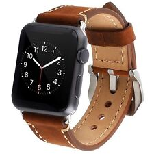 Genuine Leather Apple Watch Strap 42mm iWatch Stainless Steel Buckle Brown Band