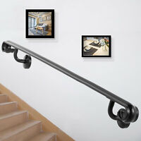 Five Step Handrail for Stairs Wrought Iron Black 5ft Five Step Stair Handrail