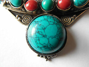 """16"""" RED CORAL,NEPAL TURQUOISE NECKLACE,set in .925 SILVER;HAND CRAFTED in INDIA"""