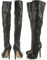 new TOPSHOP 'barley2' over the knee thigh high leather boots uk 4 eu 37