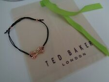 BN Ted Baker Black & Rose Gold Sweetie Bow Cord Friendship Bracelet