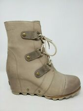 Sorel Joan Of Arctic Wedge Womens Boot Size 9.5 Brown Leather Lace Up NL2215