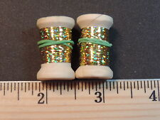 2 New Spools of Thin Flat Gold Holographic Tinsel or Flash, 20 Yards