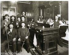 Vintage Beer Drinking Old Time Saloon Pool Players Beer Drinkers Toasting Beer